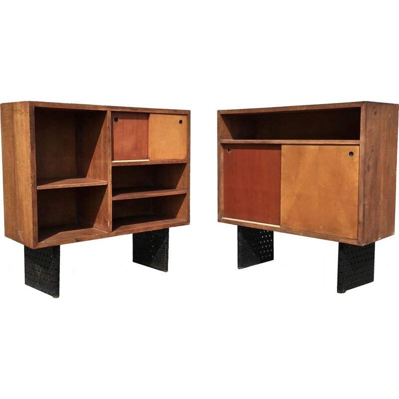 Pair of vintage drawers vintage ESCANDE from the University campus of Anthony, France, 1950