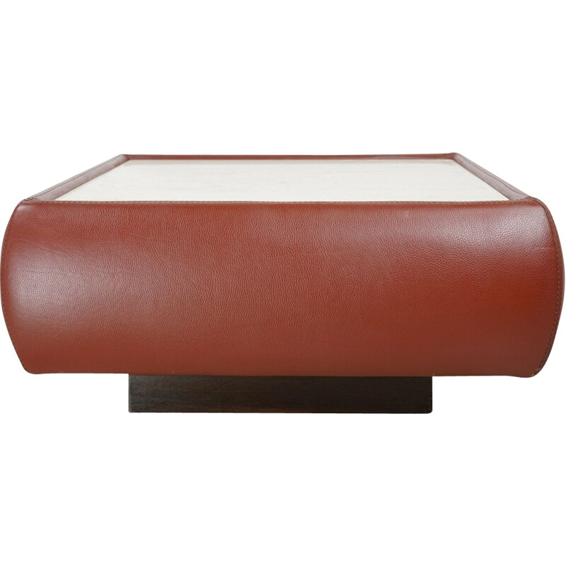 Vintage Swiss coffee table in leather and travertine, 1970