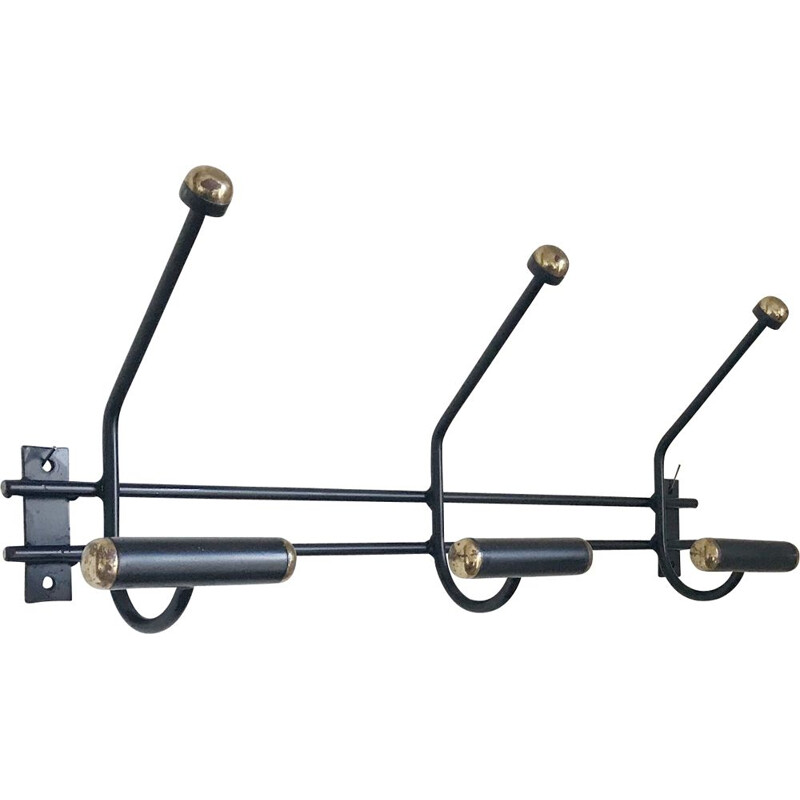 Vintage black and gold wall coat rack from the 60s