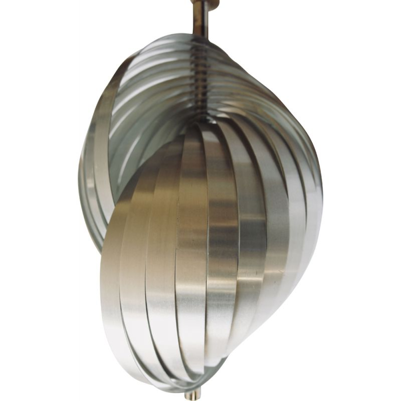 Vintage french hanging lamp for Henri Mathieu in aluminum 1970