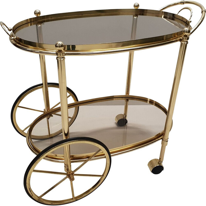 Vintage trolley bar cart in brass with smoked glass, Italian 1980s