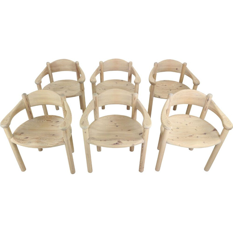 Set of 6 vintage sculptural dining chairs by Rainer Daumiller