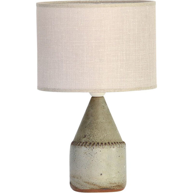 Vintage scandinavian lamp for Mölle in green ceramic and linen 1960