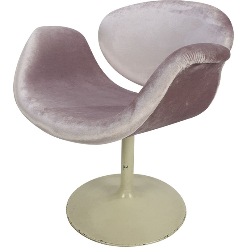Vintage Little Tulip armchair for Artifort in pink fabric and metal 1960s