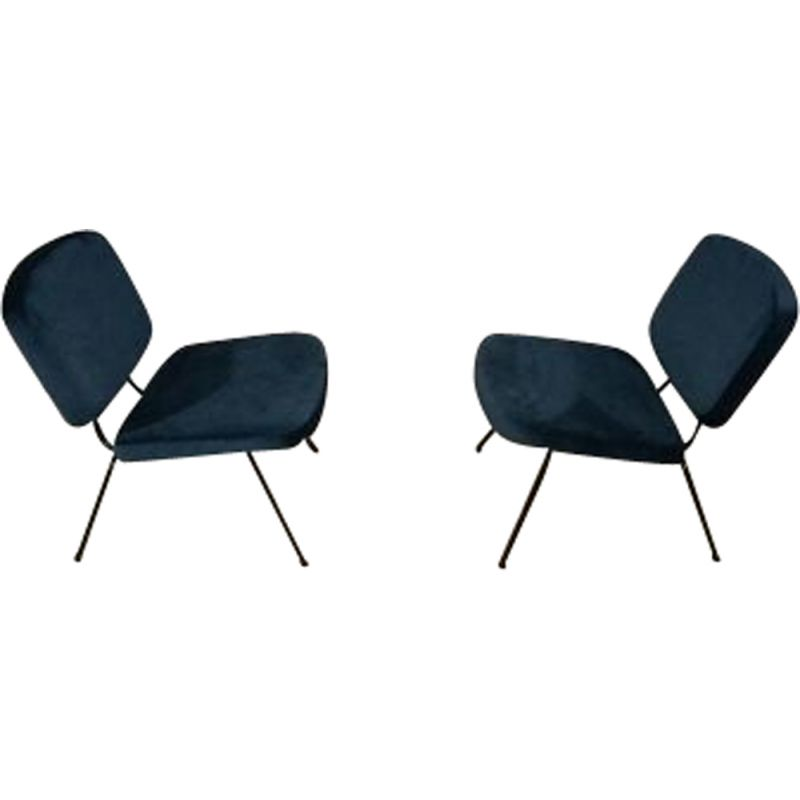 Pair of vintage CM 190 armchairs by Paulin for Thonet in blue fabric