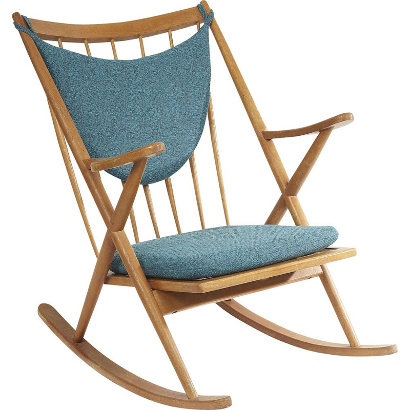 Vintage rocking chair for Bramin in blue fabric and wood 1960