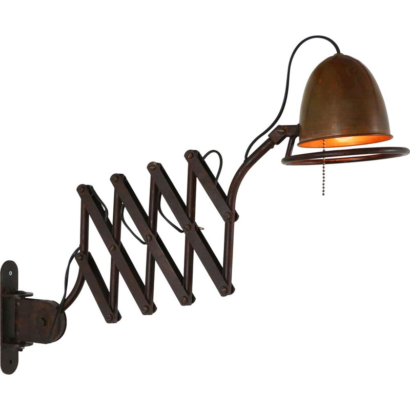Vintage industrial scissor wall light in metal and copper 1980