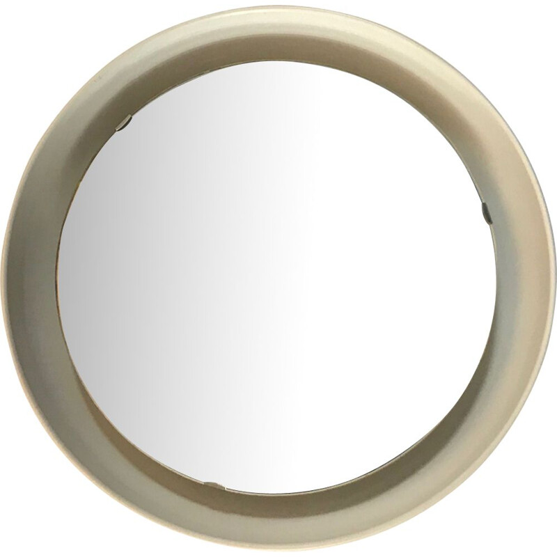 Vintage scandinavian mirror in white steel 1970