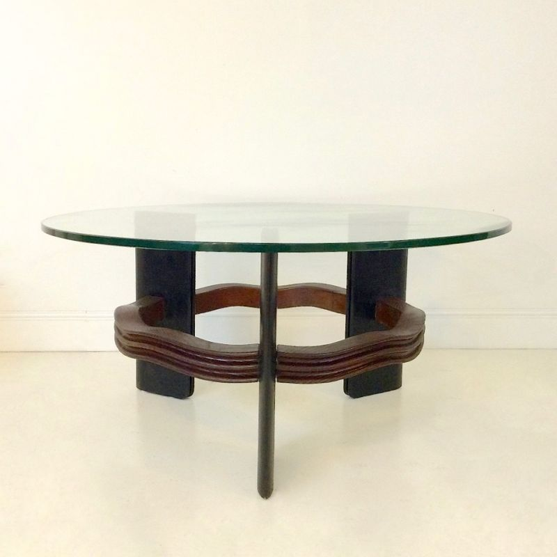 Italian Glass Coffee Table.Vintage Italian Coffee Table By Osvaldo In Wood And Glass 1940