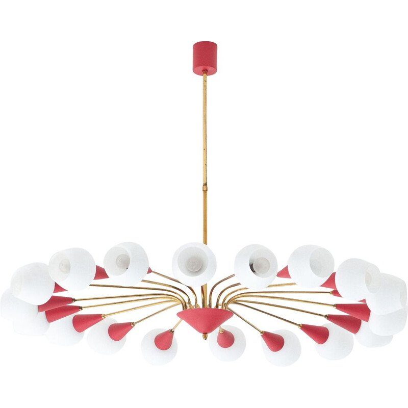 Vintage italian 18 arms chandelier in opaline glass and brass 1950