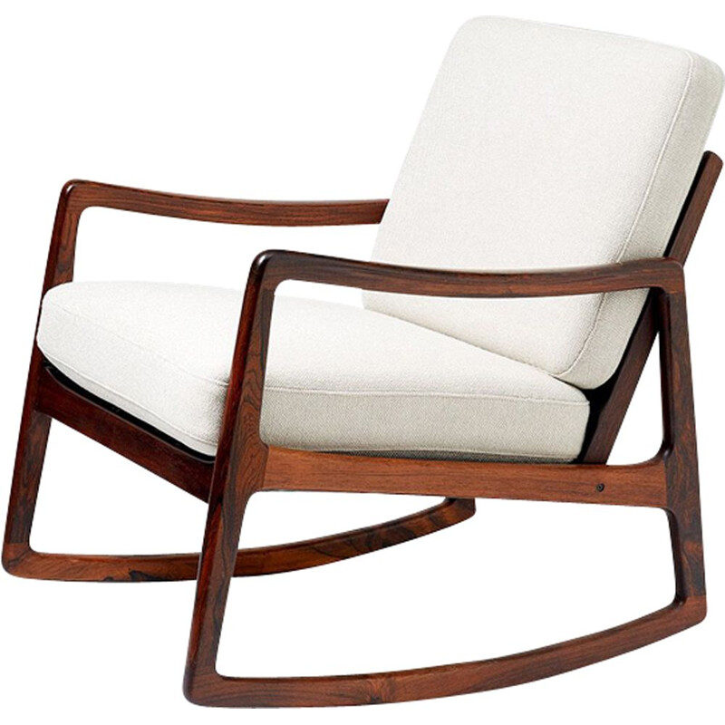 Vintage Model FD-120 for France & Son rocking chair in rosewood and white fabric 1960