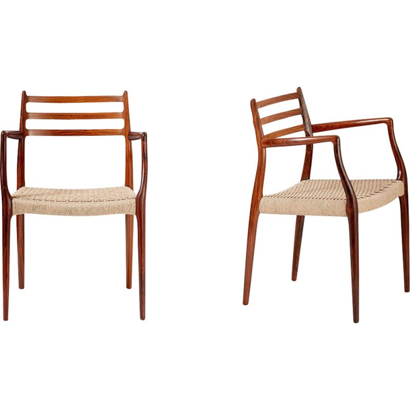 Pair of vintage model 62 chairs for Moller in papercord and rosewood 1960