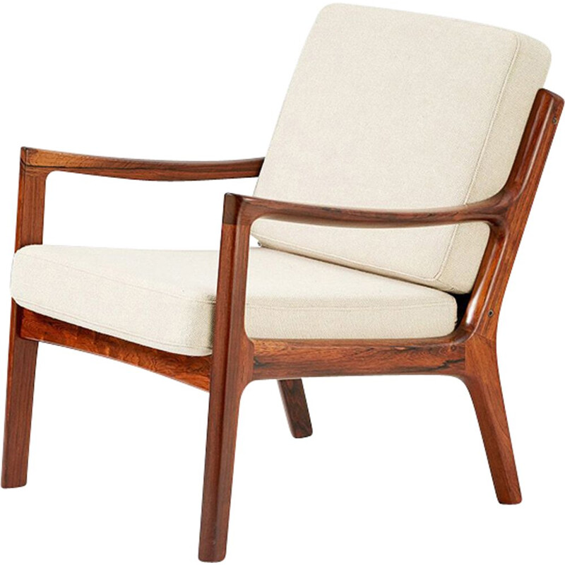 Vintage Senator armchair for France & Son in white wool and rosewood 1960