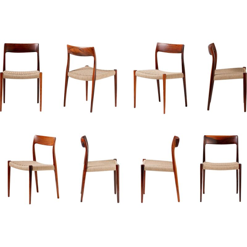 Set of 8 vintage 77 chairs for Moller in rosewood and papercord