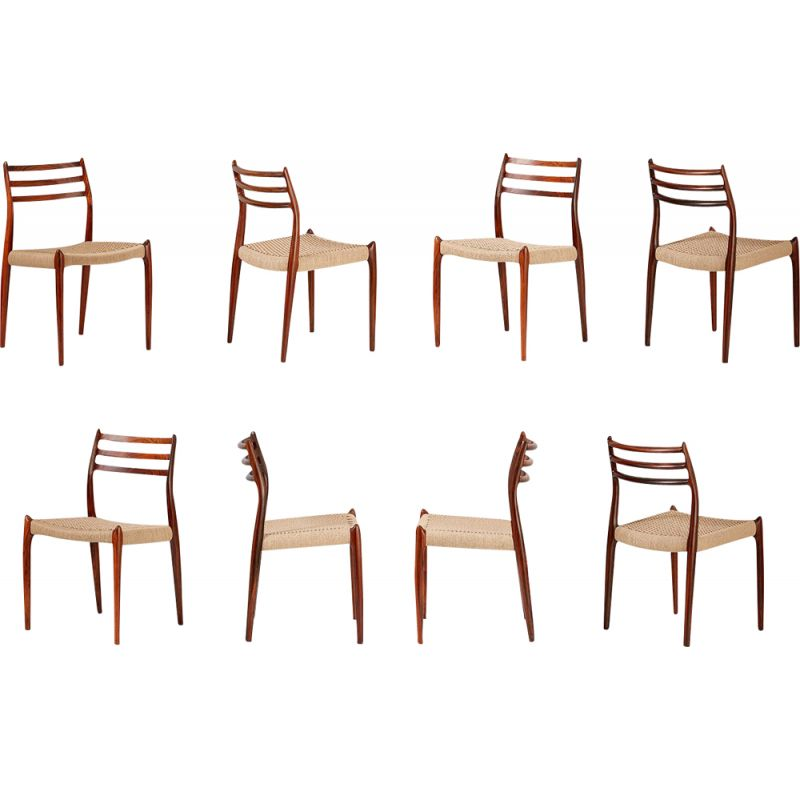 Set of 8 vintage 78 chairs for Moller in rosewood and papercord 1960