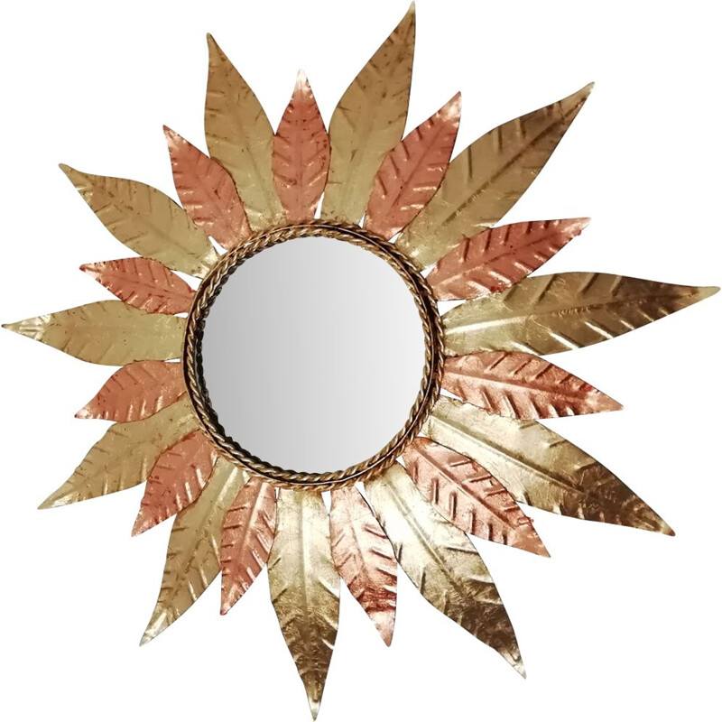 Vintage sun mirror in golden metal and copper 1970