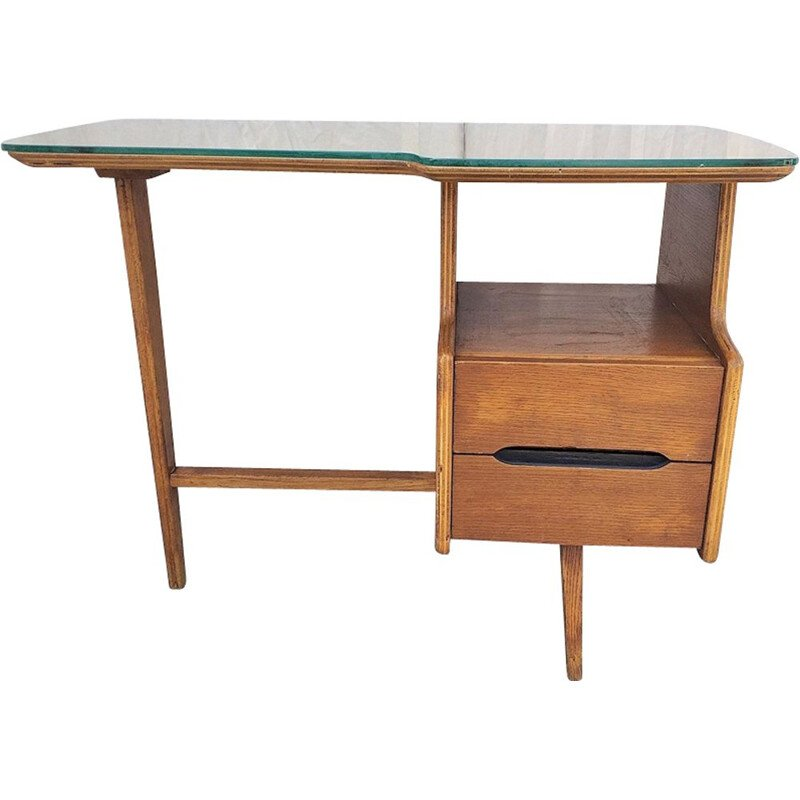 French oakwood vintage desk 1950