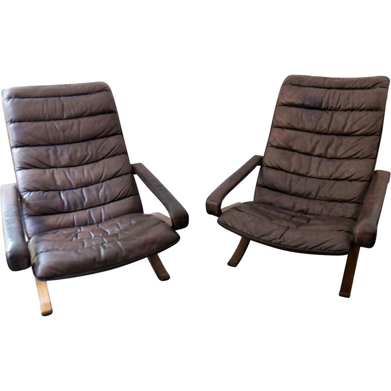 Pair of vintage armchairs for Westnofa in brown leather 1970
