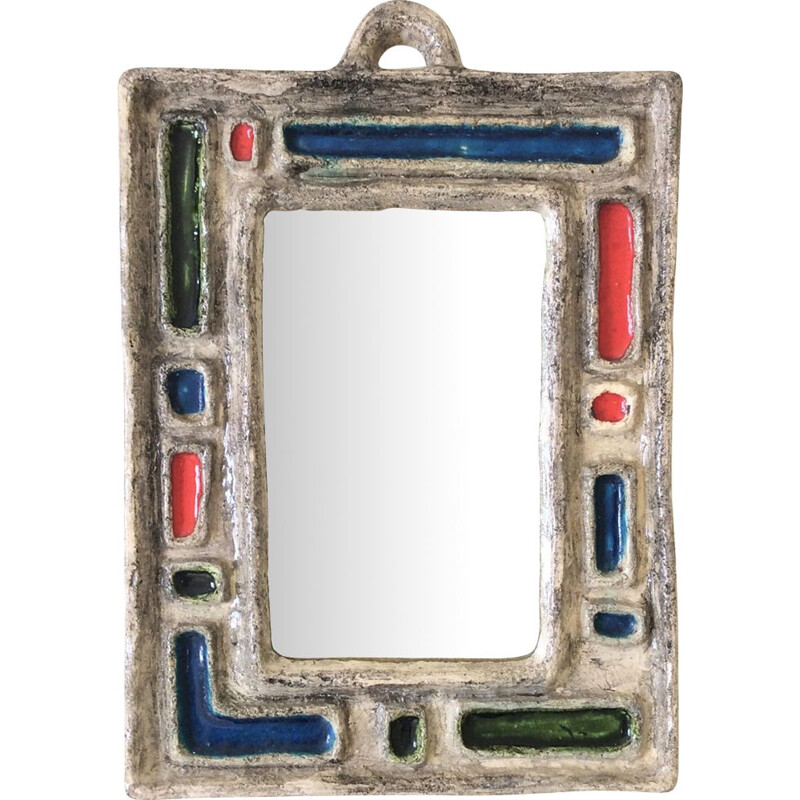 French vintage mirror in enamelled ceramic 1950