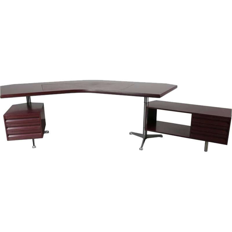 Vintage Executive Desk for Tecno Milano in wood and metal 1950