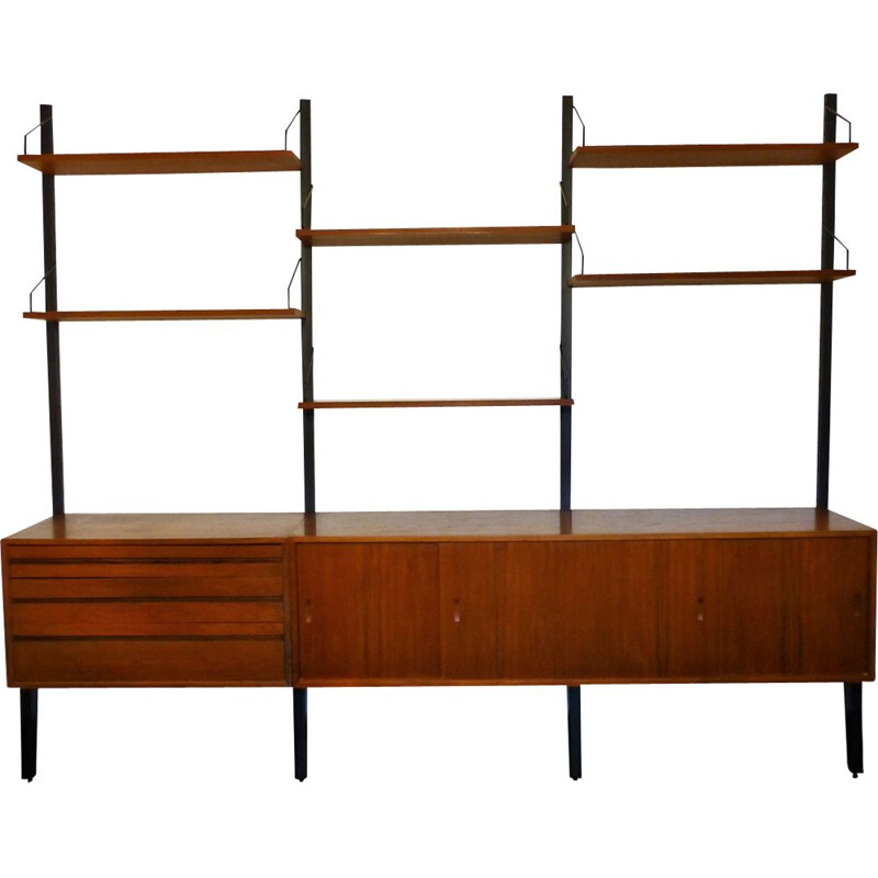 Vintage scandinavian bookcase by Poul Cadovius in wood and metal 1960