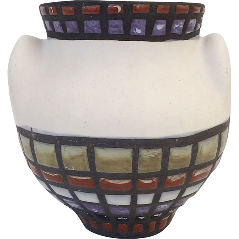 Vintage vase by Roger Capron in white ceramic 1950
