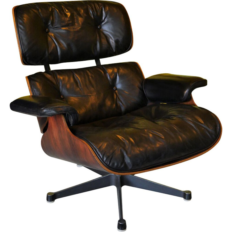 Vintage 670 armchair by Eames in rosewood and black leather 1970