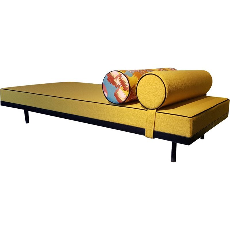 Vintage daybed  for Simmons in yellow wool and steel 1950