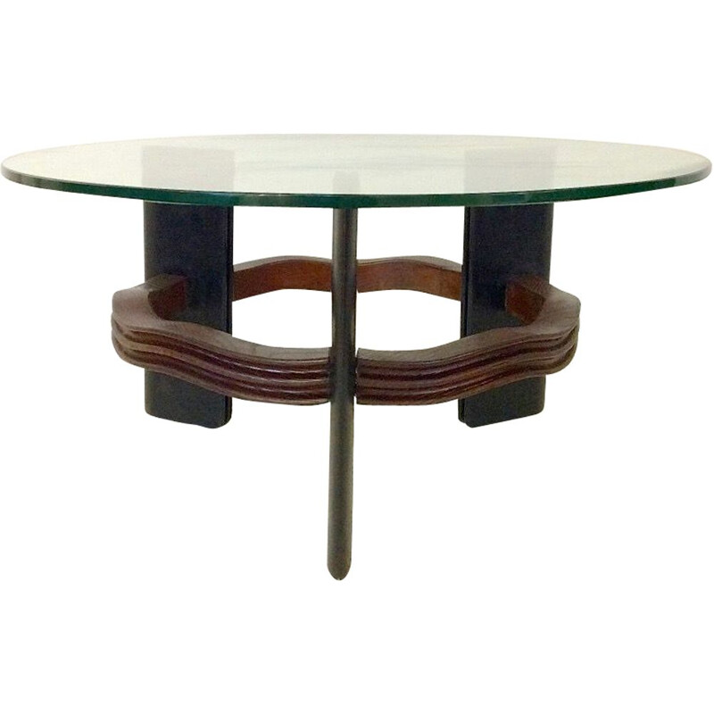 Vintage italian coffee table by Osvaldo in wood and glass 1940