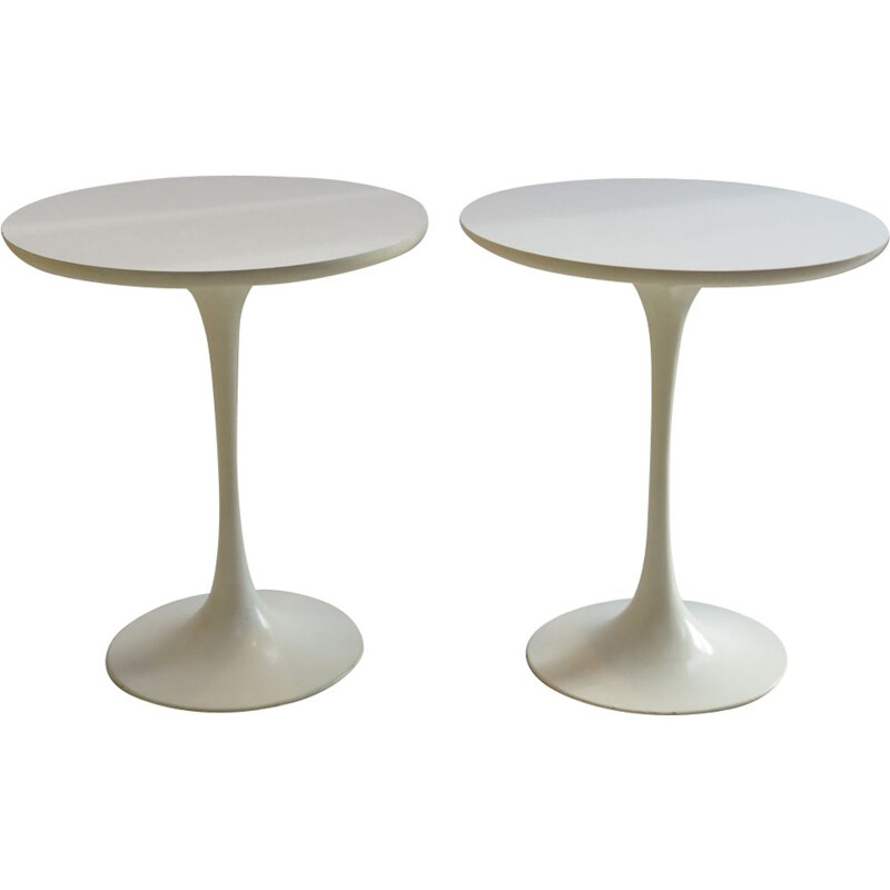 Pair of vintage side tables for Arkana in white formica and aluminium 1960