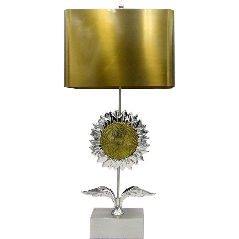 Vintage sunflower lamp for Maison Charles in bronze and brass 1970