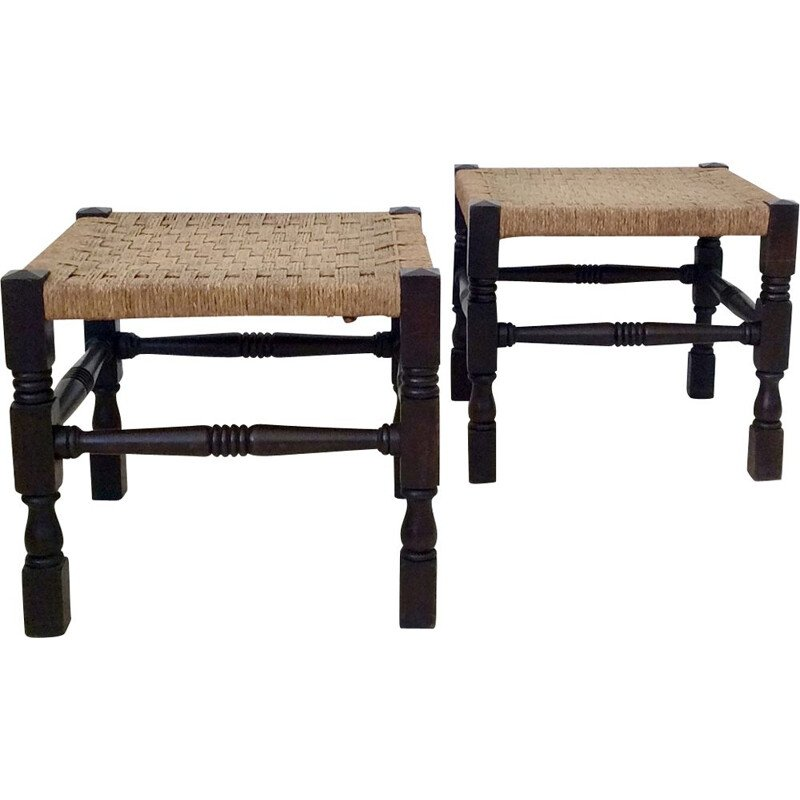 Pair of vintage stools in turned wood and rope, United Kingdom