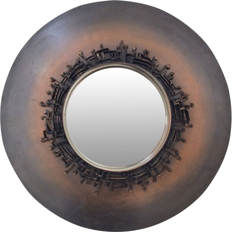 Vintage mirror round in bronze with patina, around 1970, France
