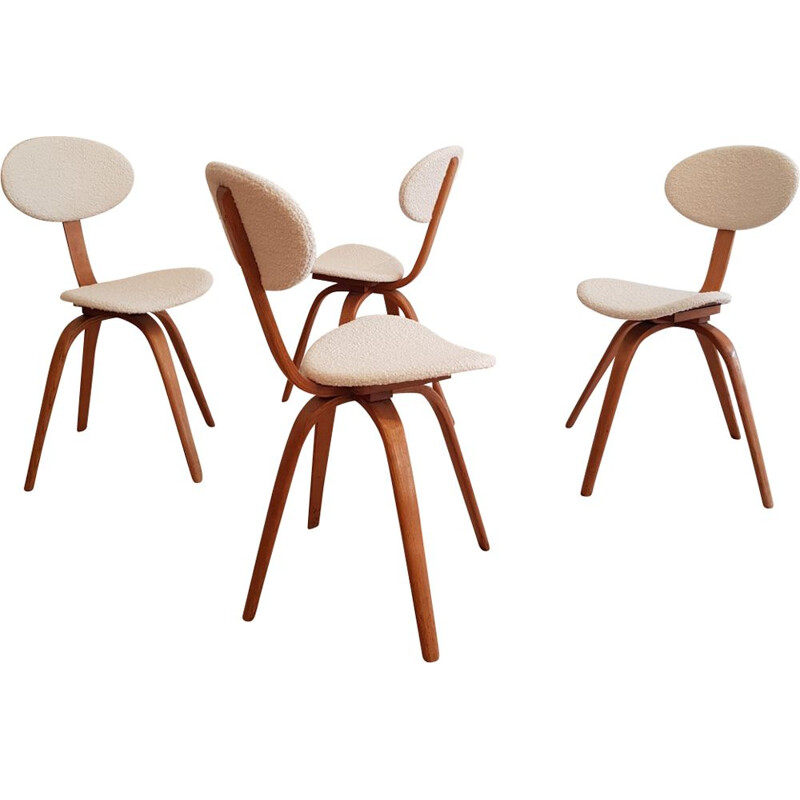 Set of 4 vintage chairs Bow-Wood n 3 by Steiner, France 1950s