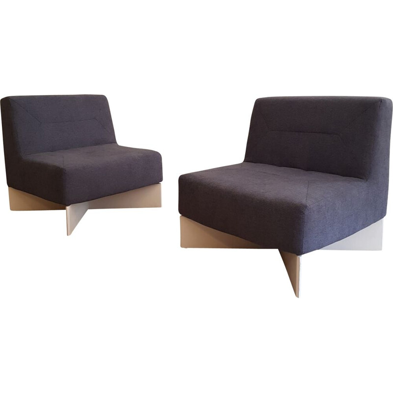 Pair of vintage low chairs Capitol by Pierre Guariche for Huchers Minvielle, France 1960