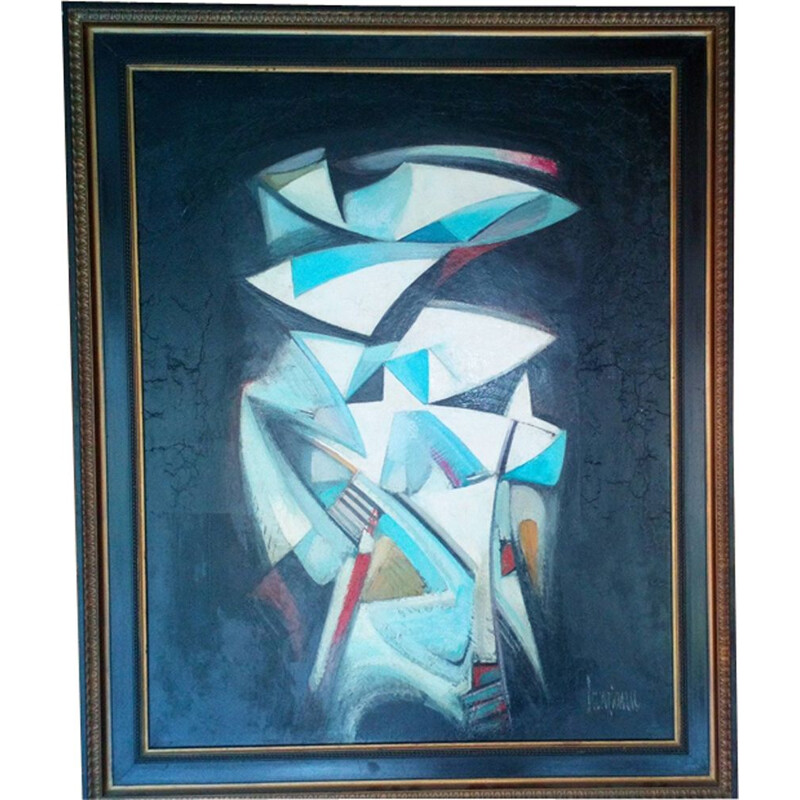 Vintage painting abstract composition by Michel Sanzianu 1944
