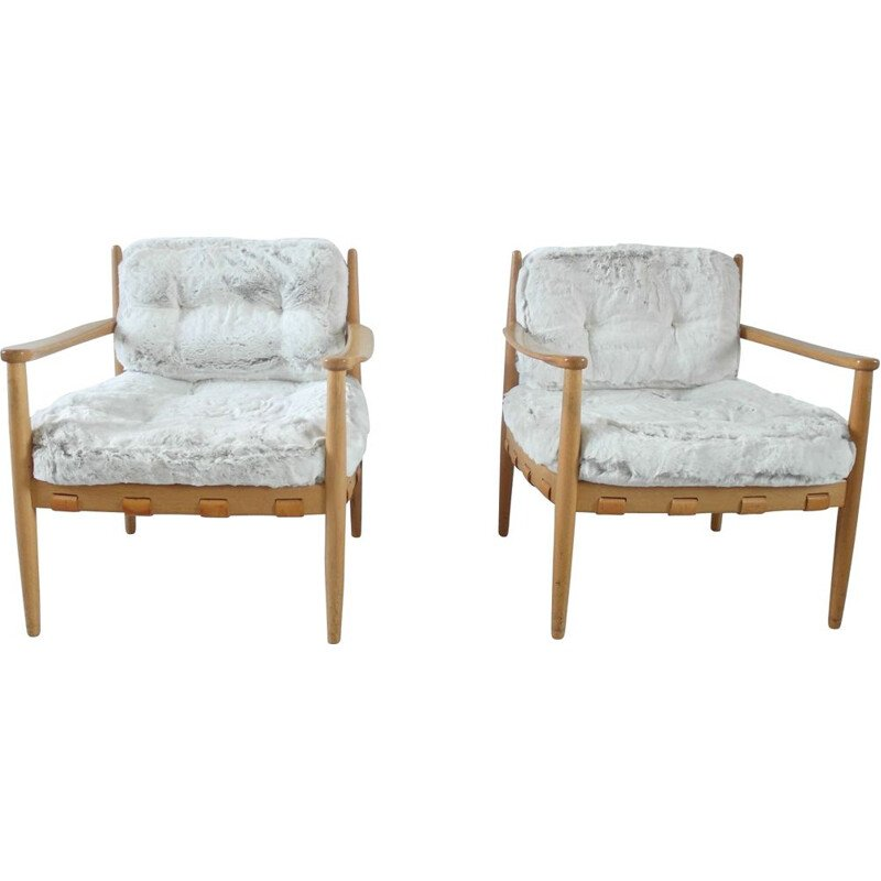 A Pair of vintage lounge chairs by Eric Merthen, Sweden 1964
