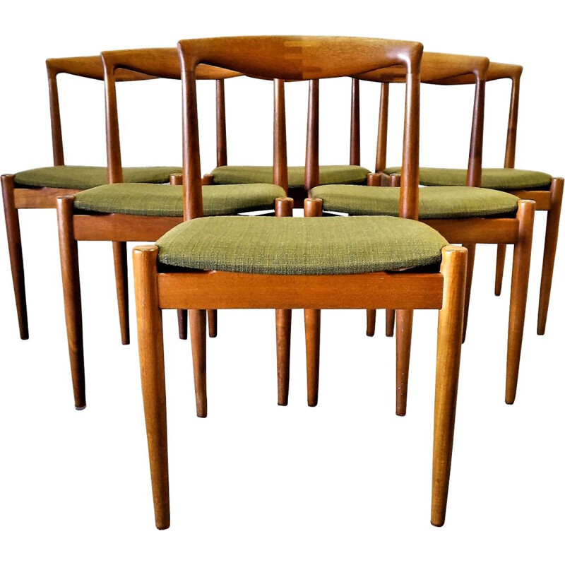 Set of 6 vintage chairs in teak Scandinavian, Arne Vodder
