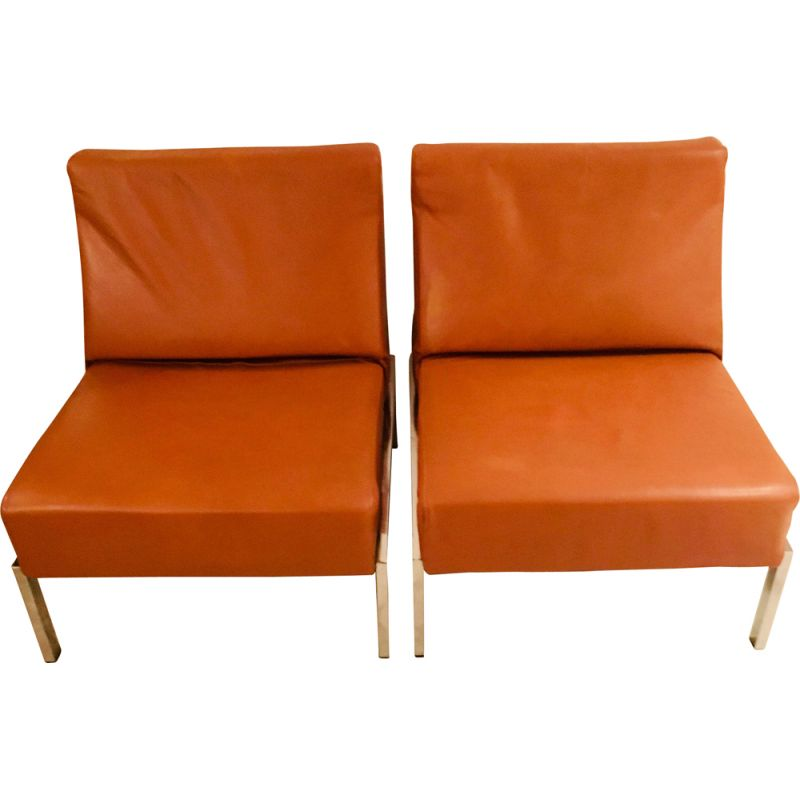 Phenomenal Pair Of Vintage Low Chairs In Cognac Leather 1960 70S Machost Co Dining Chair Design Ideas Machostcouk