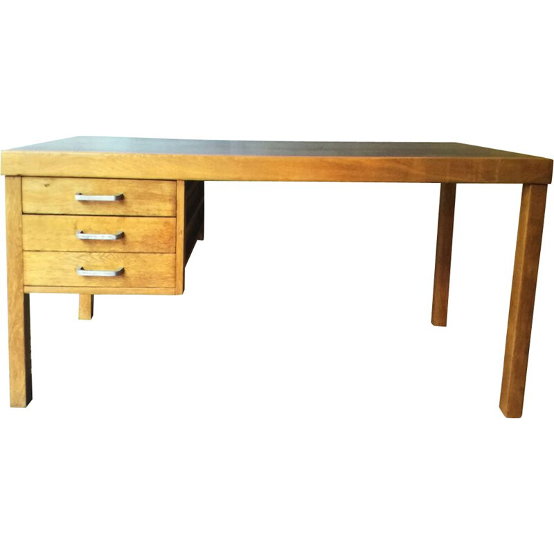 Vintage desk in oak by Jean Domps