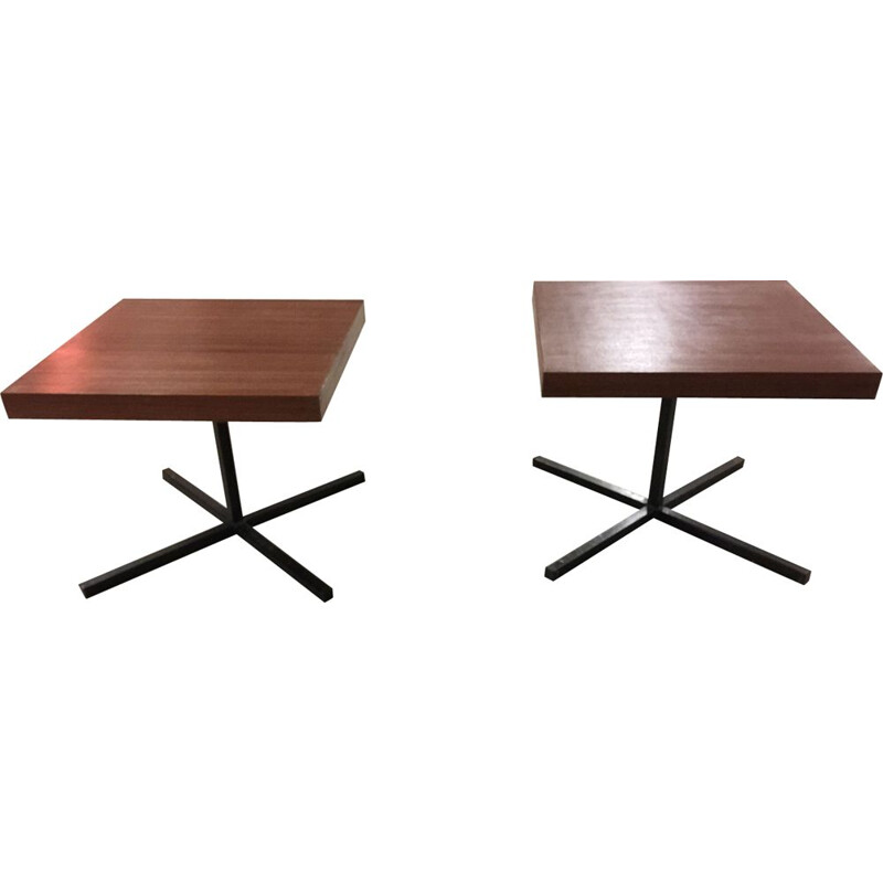 Pair of mahogany side tables by Pierre Guariche
