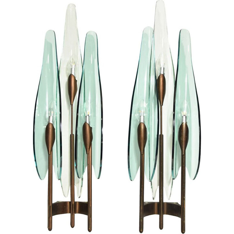 Pair of vintage wall lamps Dahlia by Max Ingrand for Fontana Arte 1950s