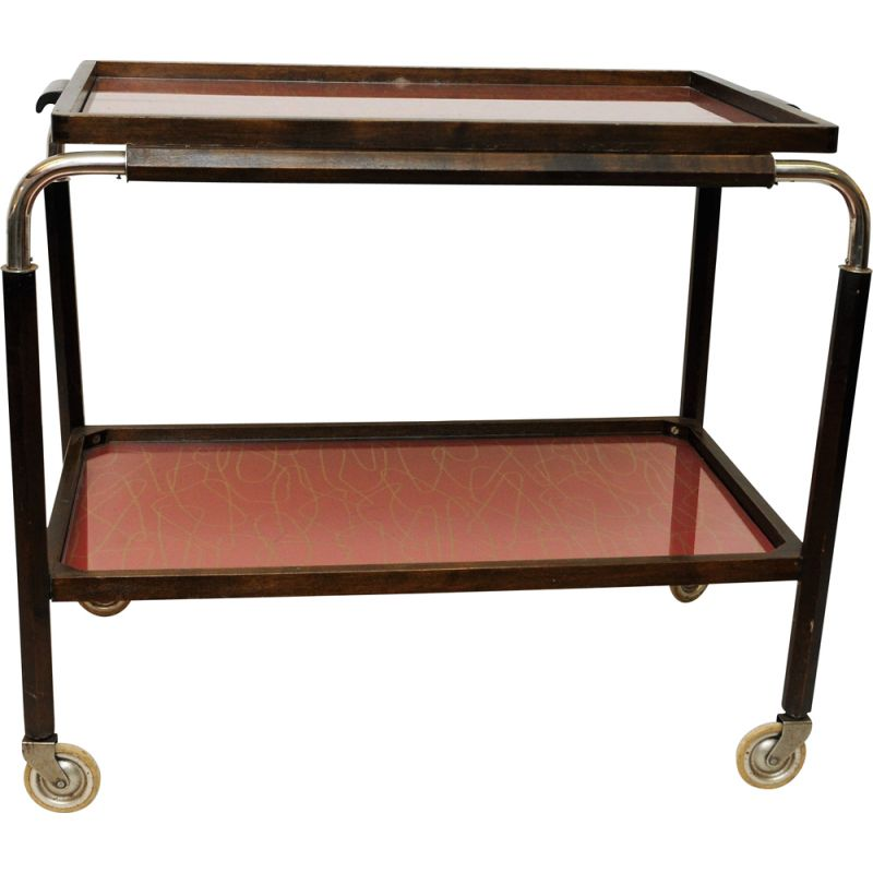 Vintage scandinavian trolley with red trays 1930