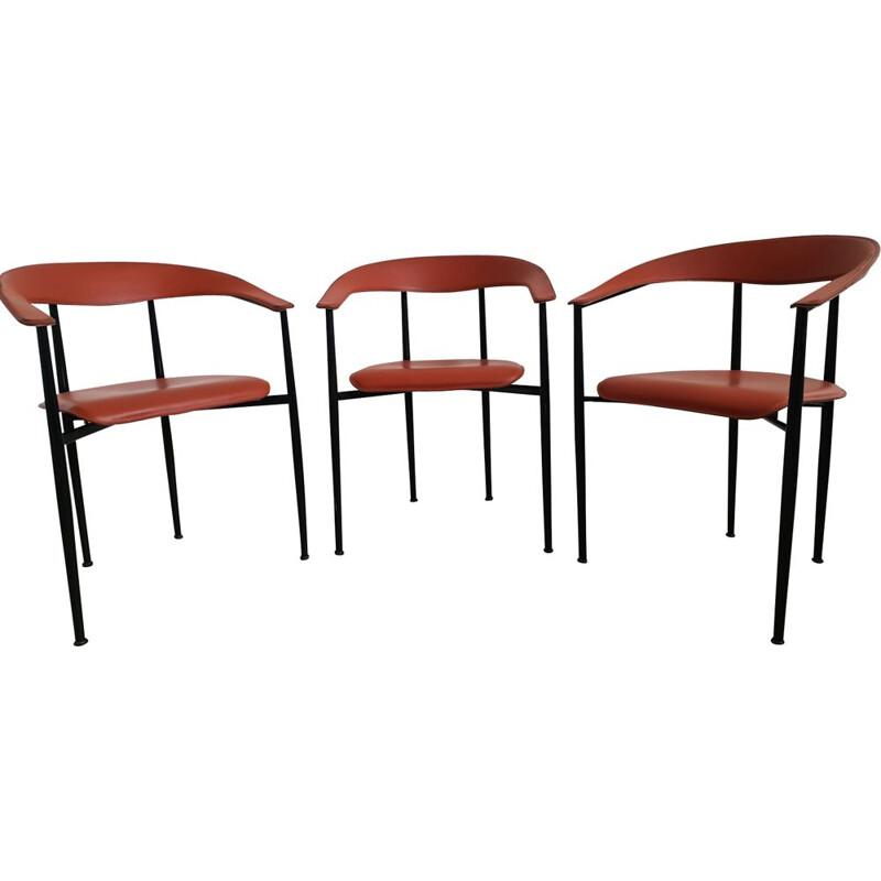 Set of 3 vintage Italian red leather chairs 1960