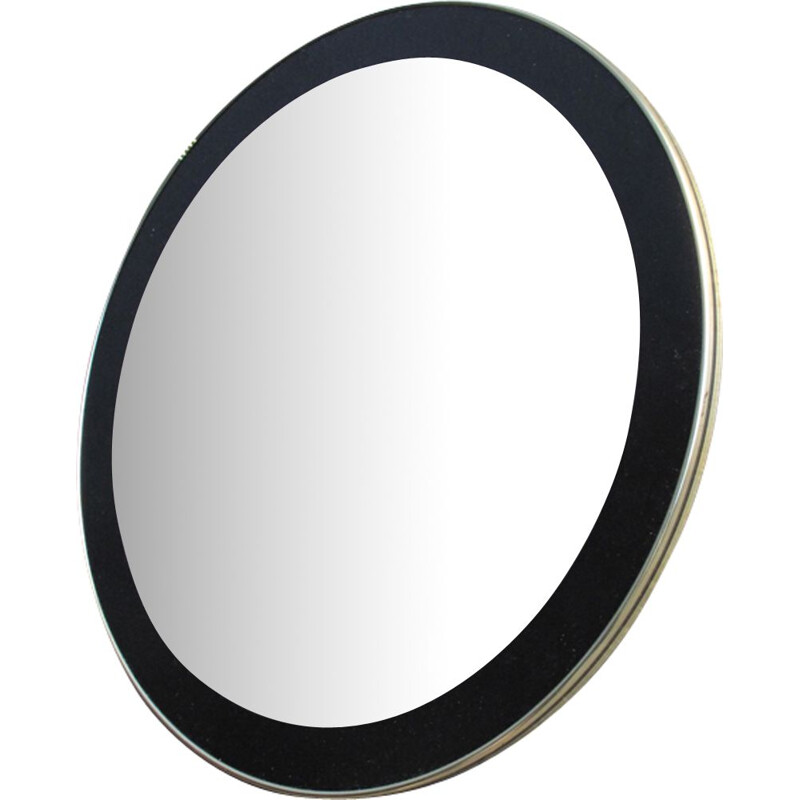 Vintage round mirror with black frame