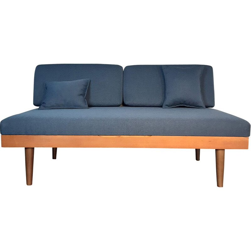 Vintage scandinavian sofa for Ekornes Svane in teak and blue fabric 1960