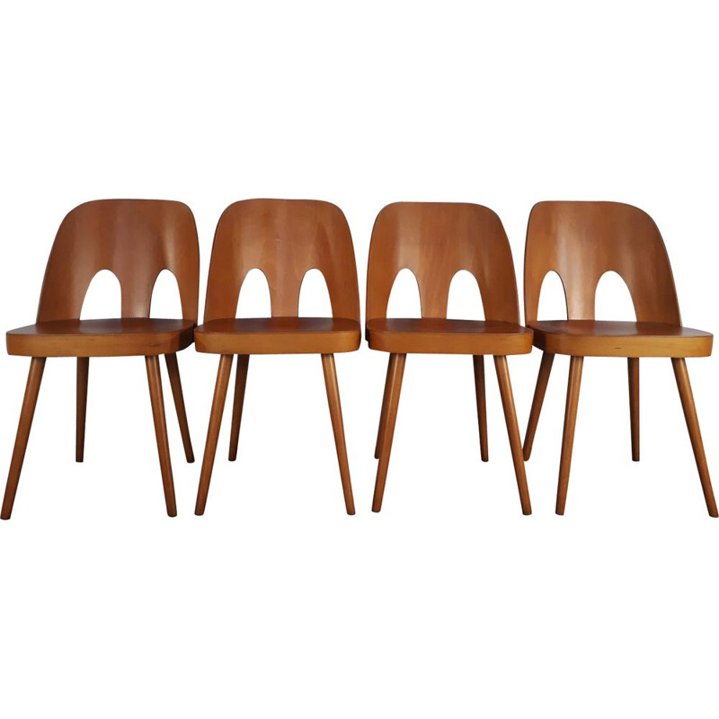 Set of 4 chairs in beech by Oswald Haerdtl for TON
