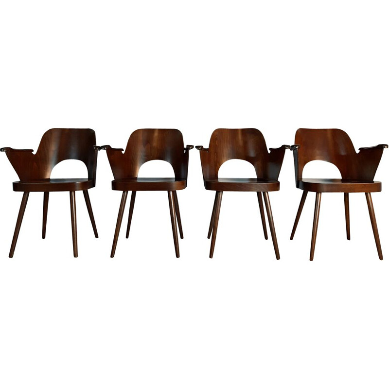 Set of 4 chairs in walnut by TON, model 1515