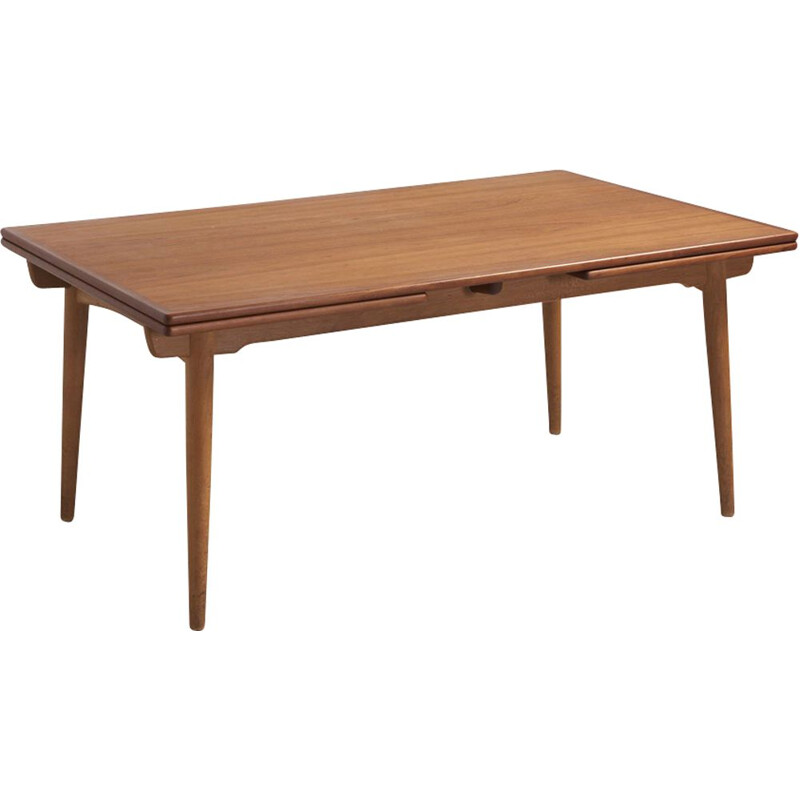 Vintage danish AT 312 table for Andreas Tuck in teak and oak 1950