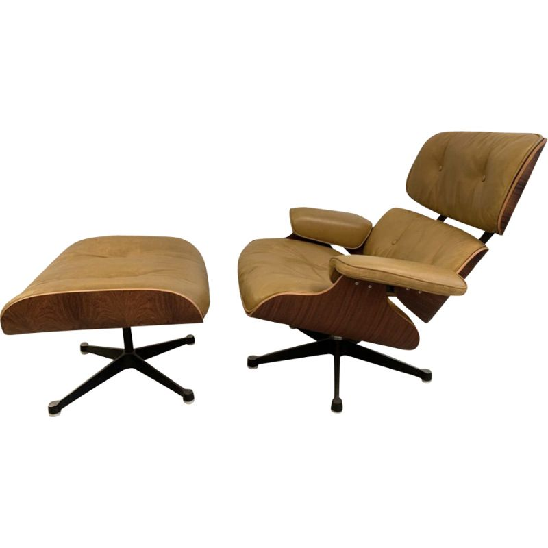 Vintage armchair and footrest 670 671 by Eames in leather and rosewood
